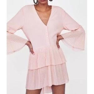 ZARA Pink Contrasting Pleated Blouse Dress